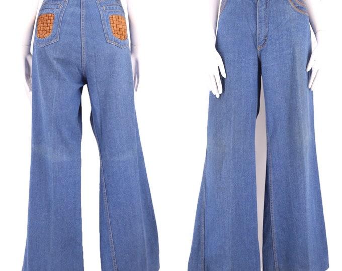 70s BRITTANIA sz XL high waisted denim bell bottoms jeans 36  / vintage 1970s leather trim flares pants sz 15