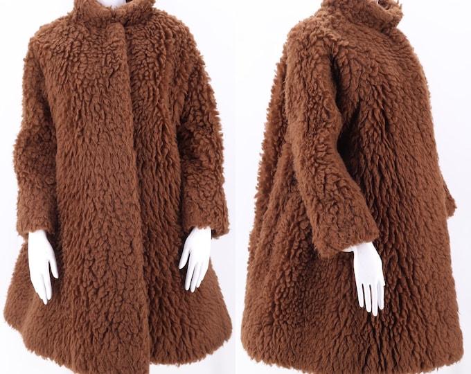 60s faux fur teddy bear coat M  / vintage 1960s Nieman Marcus mod fluffy shaggy swing coat Museum