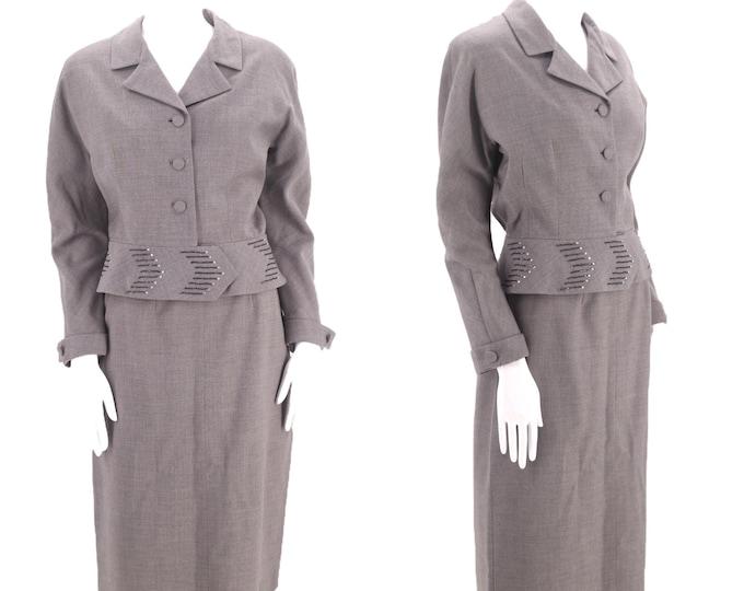 50s gray wool vintage skirt suit sz 8 / early 1950s Nicki Ames slouchy blazer jacket skirt outfit sz M Vertigo