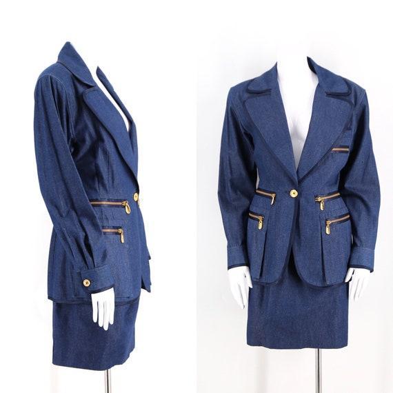 90s DONNA KARAN chambray denim suit sz 8 / vintage