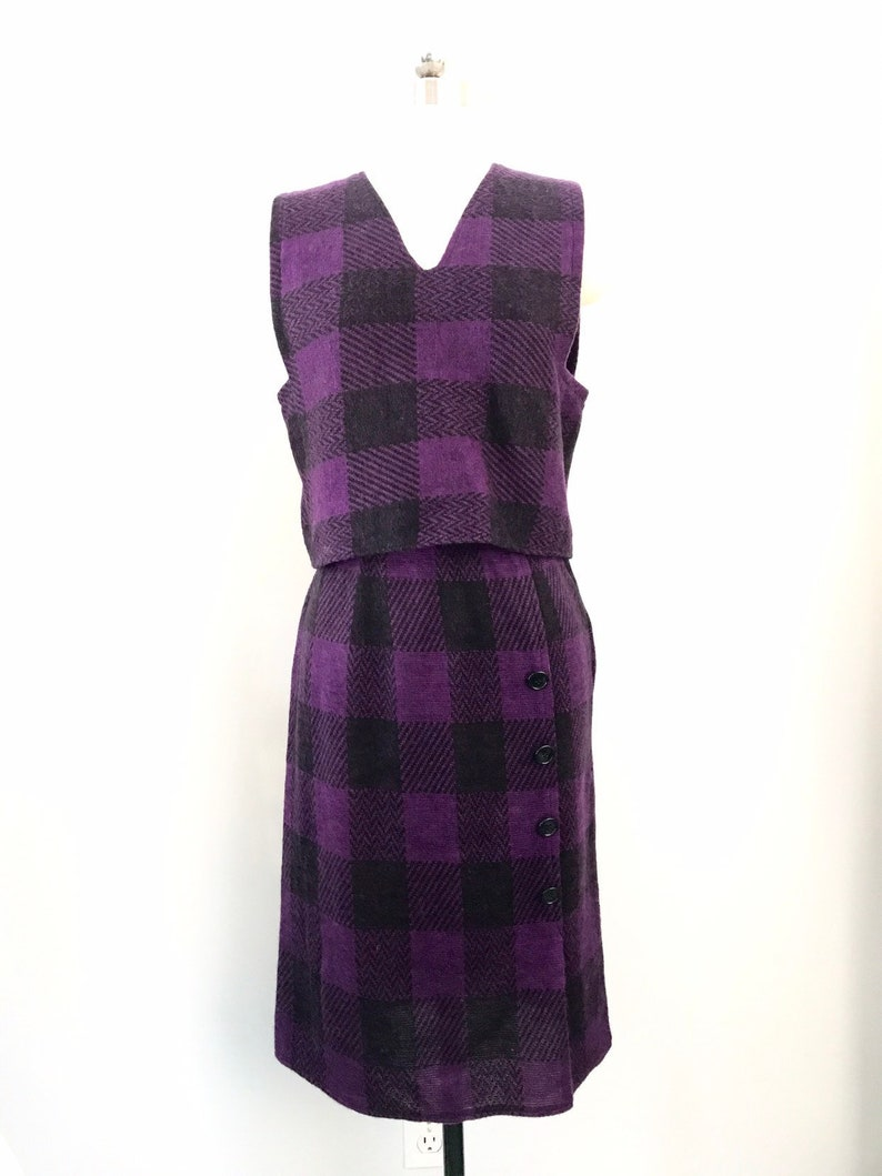 89b00d3e5d4 80s GEOFFREY BEENE purple houndstooth check knit soft 2 pc | Etsy