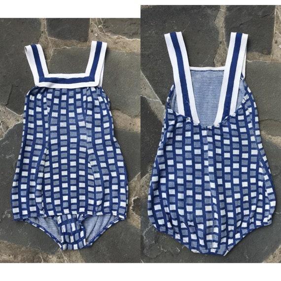 30s CATALINA girls knit swimsuit sz 12 / vintage 1