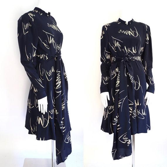80s Pauline Trigere navy print silk dress / vinta… - image 1