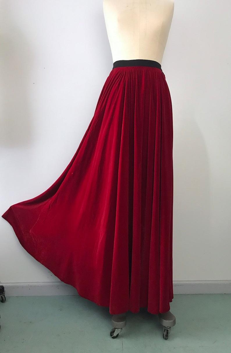 ccb99d0864 30s MAINBOCHER lipstick red velvet evening gown maxi SKIRT