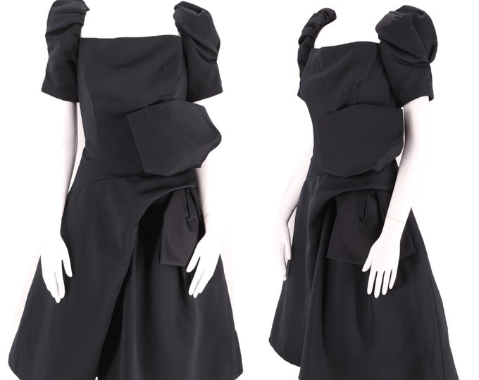 80s VICTOR COSTA black cocktail dress size 8 / vintage 1980s poufy origami extreme evening dress M