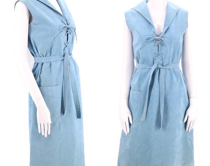 70s HALSTON ultra suede lace up dress M / vintage 1970s powder blue Iconic original designer trench coat dress