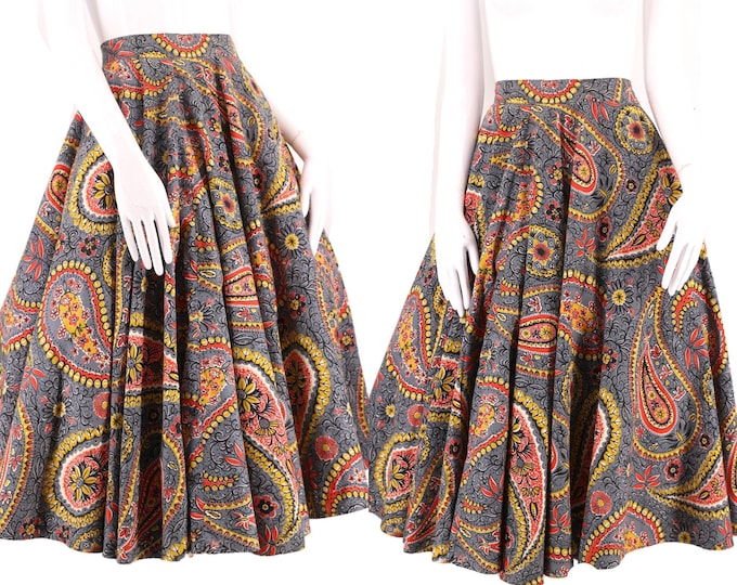 "50s HONEYLANE huge cotton circle skirt 28 / vintage 1950s paisley print full sweep skirt 29"""