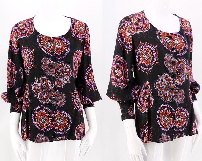 60s UNGARO vintage blouse M / starburst print 70s bishop sleeve blouse / 1960s Emanuel Ungaro rayon top