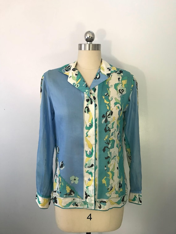 60s EMILIO PUCCI blue green signed print psychedel