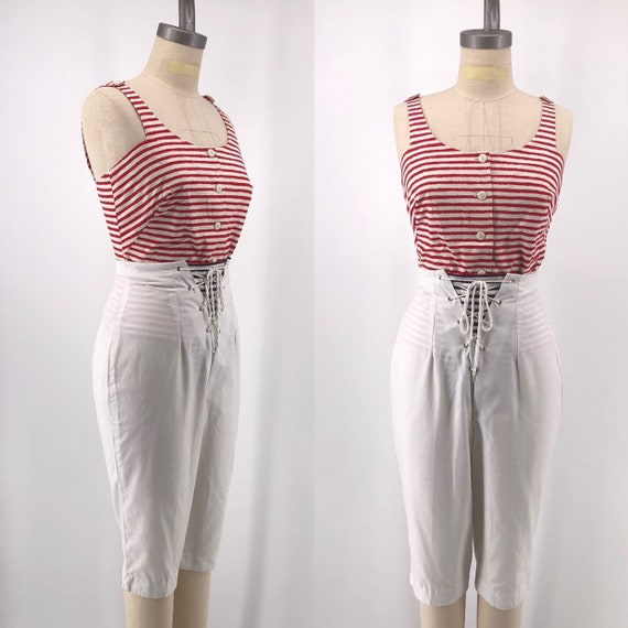 50s SAILOR OUTFIT cotton striped top and lace up w