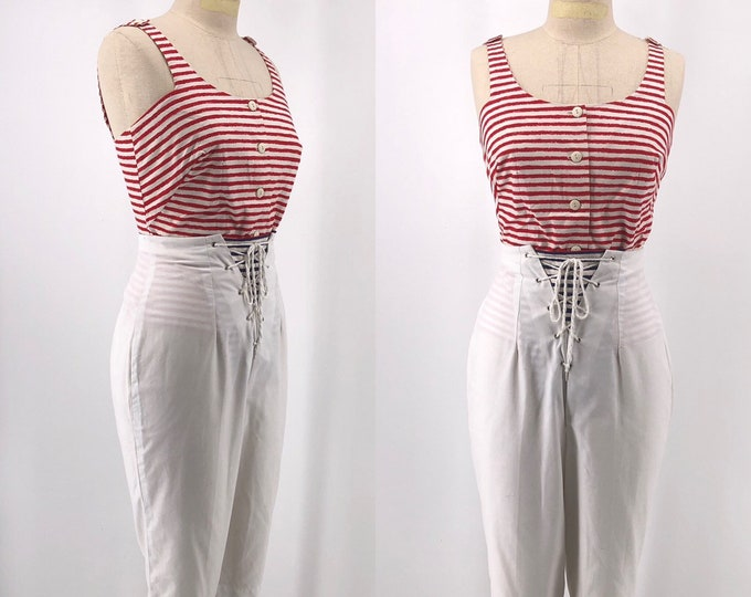 """50s SAILOR OUTFIT cotton striped top and lace up white pants with reversible placket 1950s vintage 26"""""""