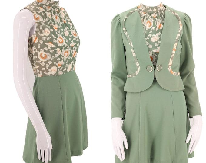 70s Deco print mini dress suit S  / vintage 1970s PATRICIA FAIR sage green novelty lady print outfit blazer set