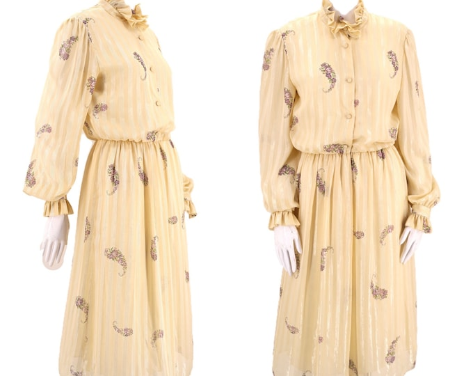 80s HANAE MORI vintage dress large / cream print dress L  / vintage 1980s secretary ladylike dress designer Japan 44 12