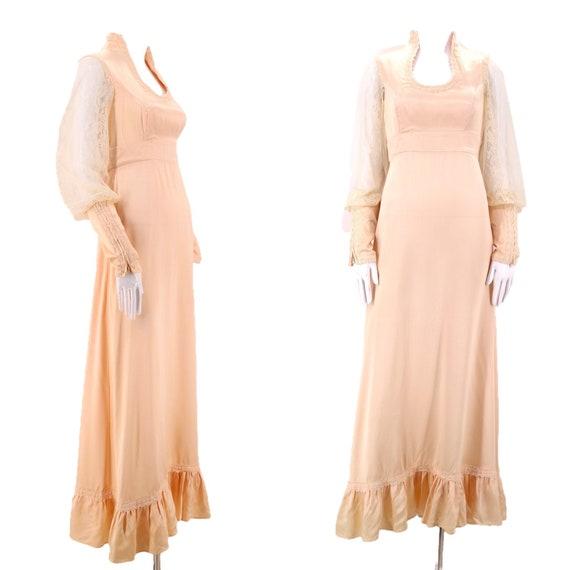 70s GUNNE SAX pink satin lace prairie dress 9 / vi