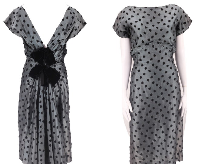 """50s MRS FORD gray silk cocktail dress M / vintage 1950s polka dot flocked organza bow back party dress 25"""""""