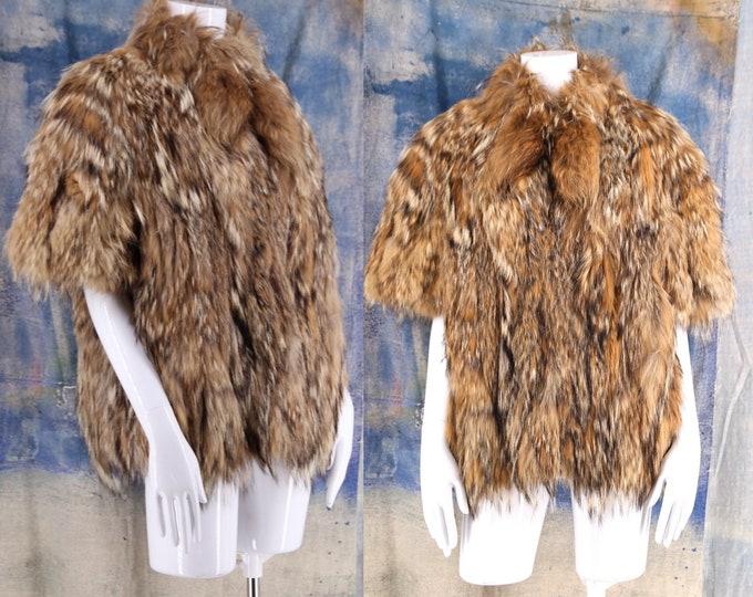70s Montana Lynx fur shrug coat / vintage 1970s short sleeve jacket stole shaggy brown fur L
