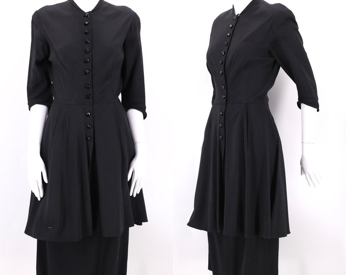 50s black peplum skirt suit 6 / vintage 1950s grosgrain jacket blazer sheath dress sz S
