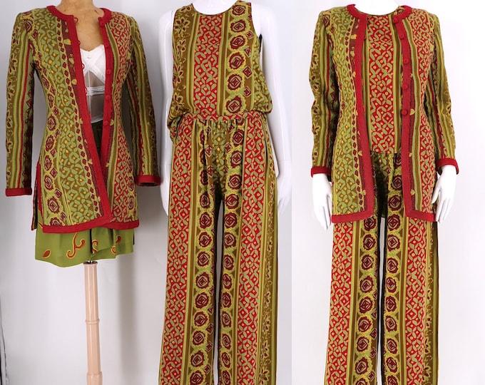 90s Oscar De La Renta silk outfit sz 8 /vintage 1990s designer set 4 piece blouse tank jacket blazer pants skirt ethnic green red print