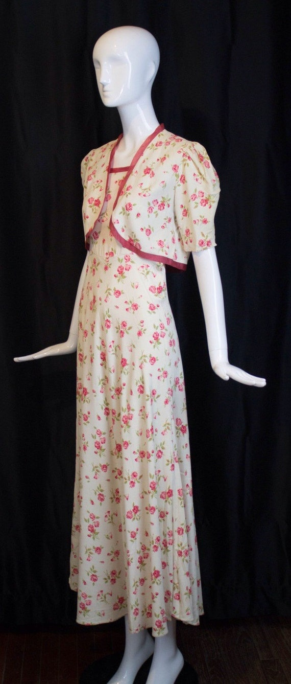 30s GOWN & JACKET novelty rose print rayon summer… - image 3