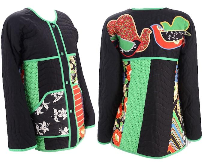 70s JEANNE MARC quilted jacket / vintage 1970s art to wear folk quilt appliquéd bird jacket M