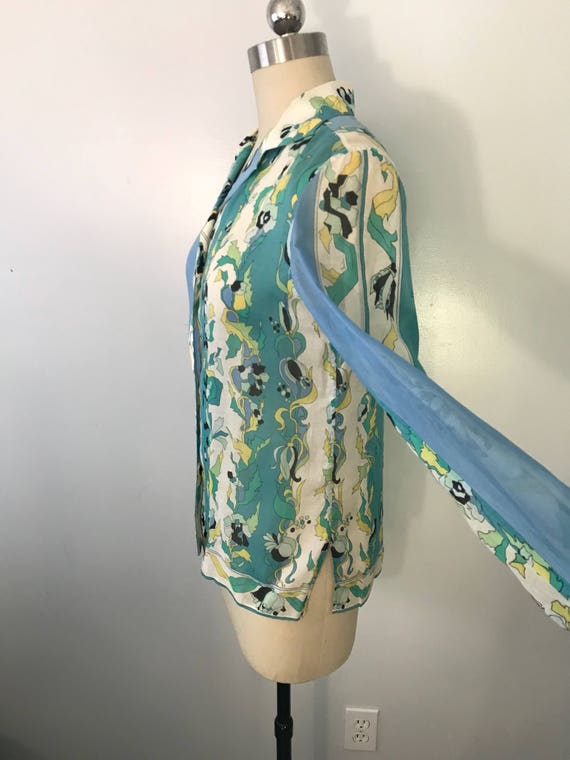 60s EMILIO PUCCI blue green signed print psychede… - image 4