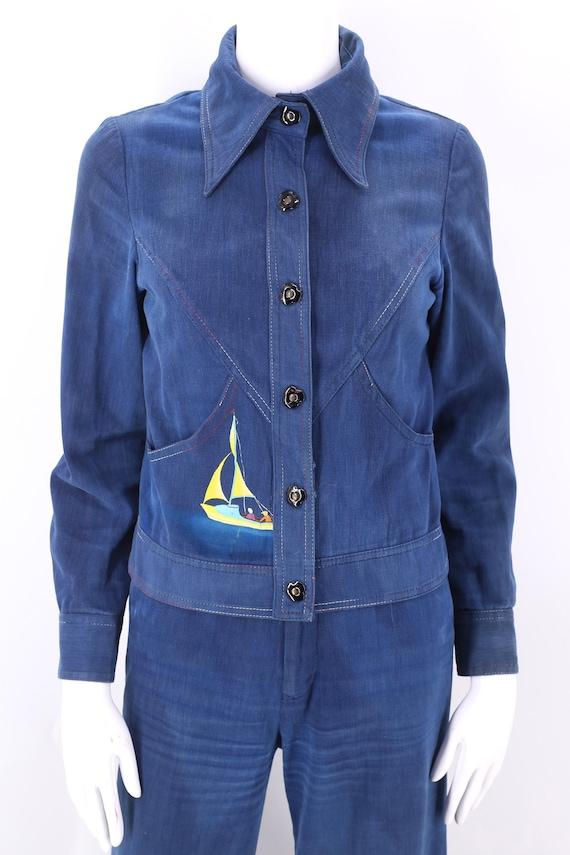 70s RONCELLI denim bell bottoms suit 8 / vintage … - image 7