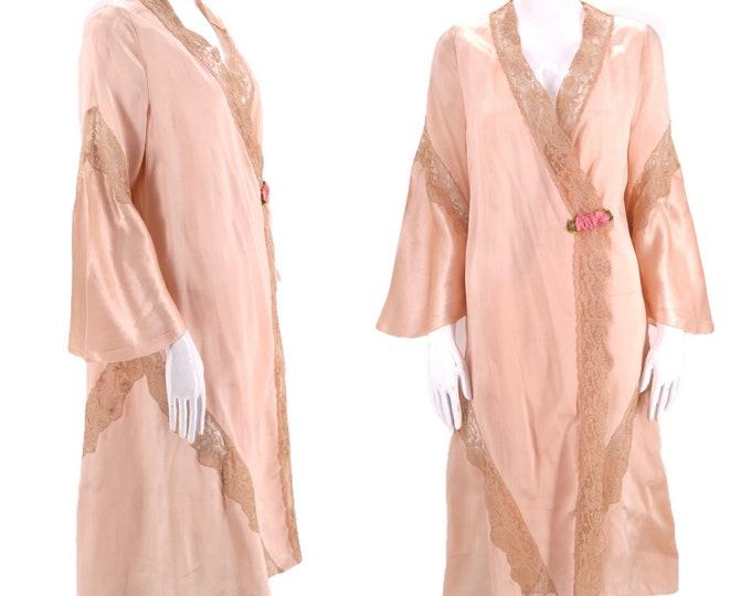 20s petal pink silk lace Deco robe / vintage lingerie flapper duster robe antique one size 1930s 1920s
