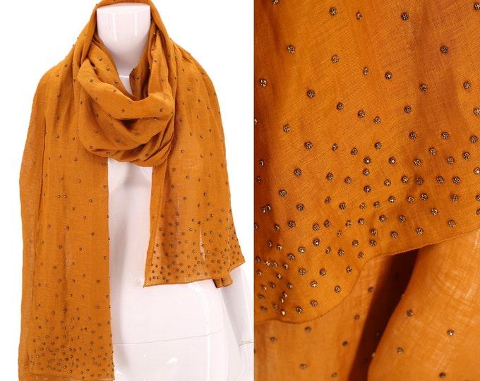 90s DONNA KARAN studded linen scarf shawl wrap / vintage 1990s DK collection large scarf head wrap dkny