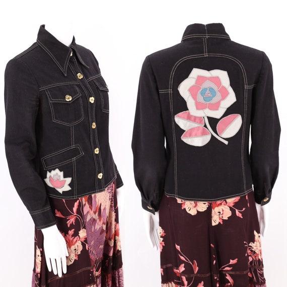 70s Roncelli Black Appliqued Brushed Cotton Jacket