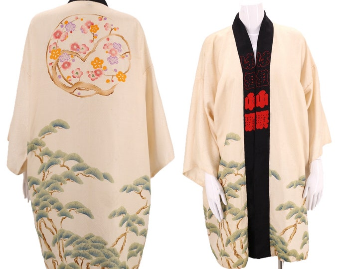 30s silk kimono /Bonsai print silk Japanese kimono / vintage cream cherry blossom floral print Deco duster robe antique one size 1930s 1940s