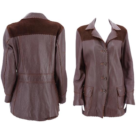 50s deerskin brown leather western jacket M-L  / v