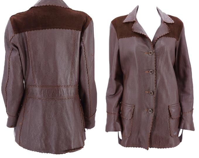 50s deerskin brown leather western jacket M-L  / vintage 1950s soft buckskin cowgirl ranch coat 40s