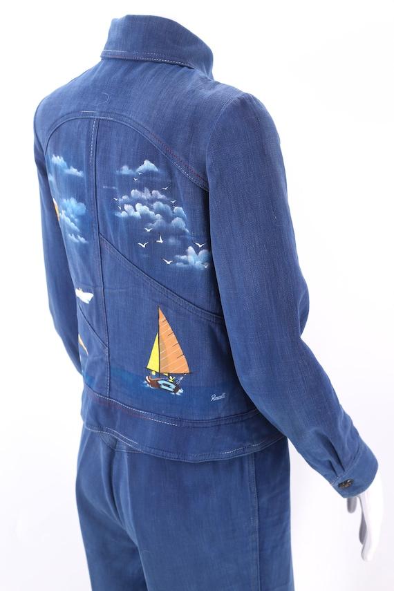 70s RONCELLI denim bell bottoms suit 8 / vintage … - image 3