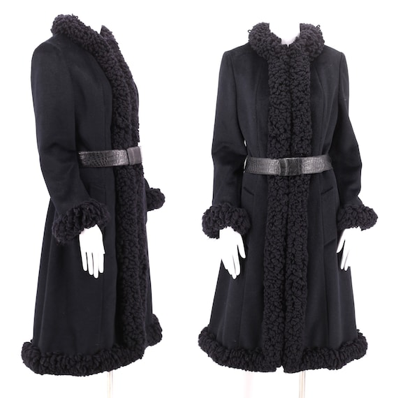 60s LILLI ANN charcoal yarn trim coat M / vintage