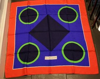 70s YSL Yves Saint Laurent print Silk Scarf • Designer Scarf • Mod vintage 1970s  34 x 33
