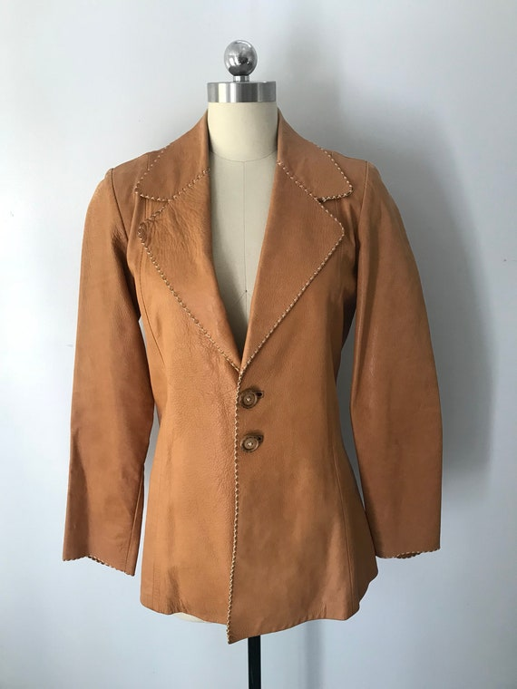 70s OSHWAHKON tailored tan stitched leather BLAZER