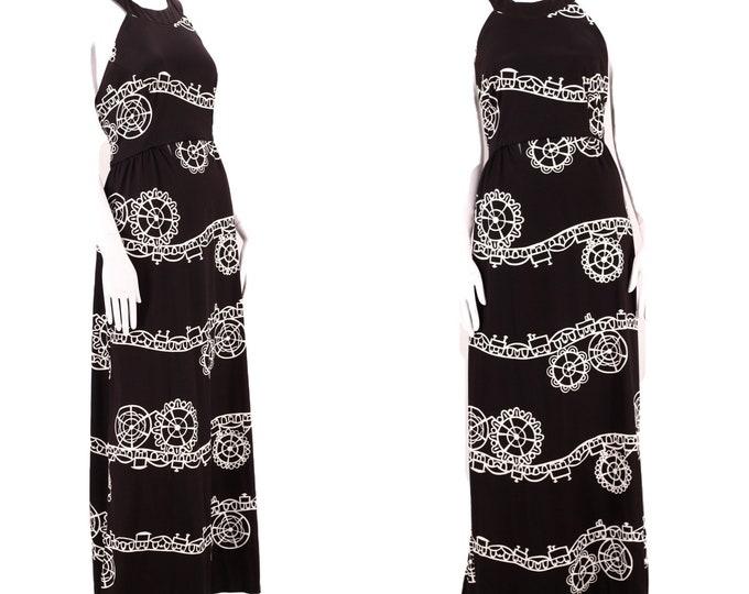 70s novelty print disco maxi dress L / vintage 1970s black carnival print poly halter maxi gown size large