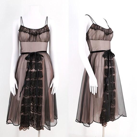 50s black nylon sheer Princess boudoir slip / vint