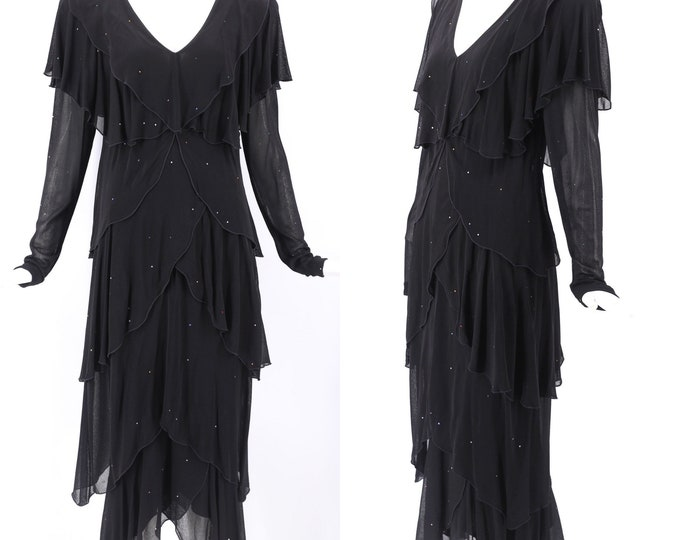 80s HOLLY HARP black jersey rhinestone dress sz S / vintage 1980s tiered fluttery disco sparkle dress