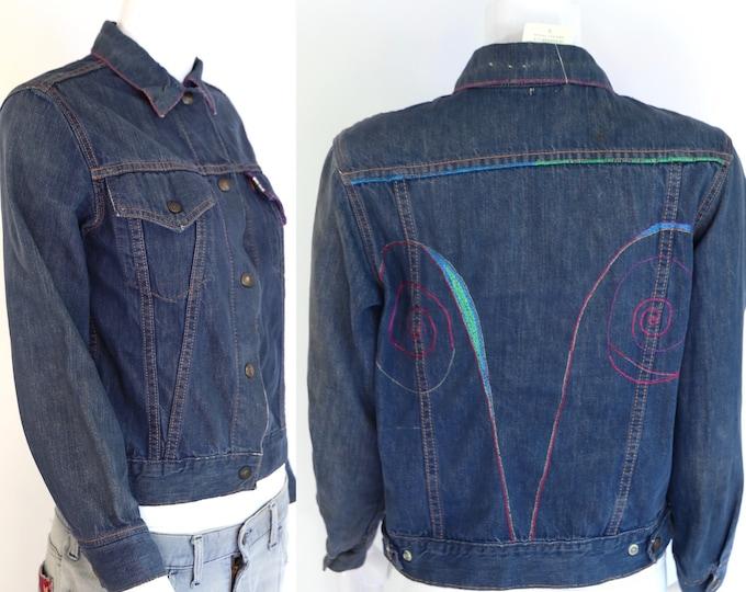 60s LEVIS Big E denim jacket / vintage 1960s 70s Levis For Gals custom embroidered dark denim ARIES astrology jacket sz S