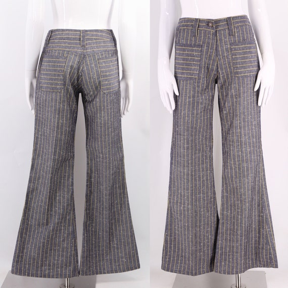 """60s striped bell bottoms pants 27"""" / vintage 1960s"""