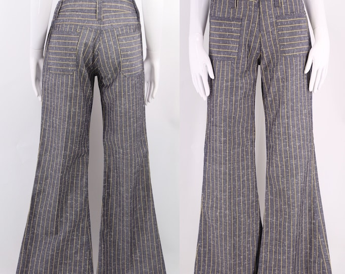"""60s striped bell bottoms pants 27"""" / vintage 1960s yellow pinstripe slate blue flares sz 6-8"""