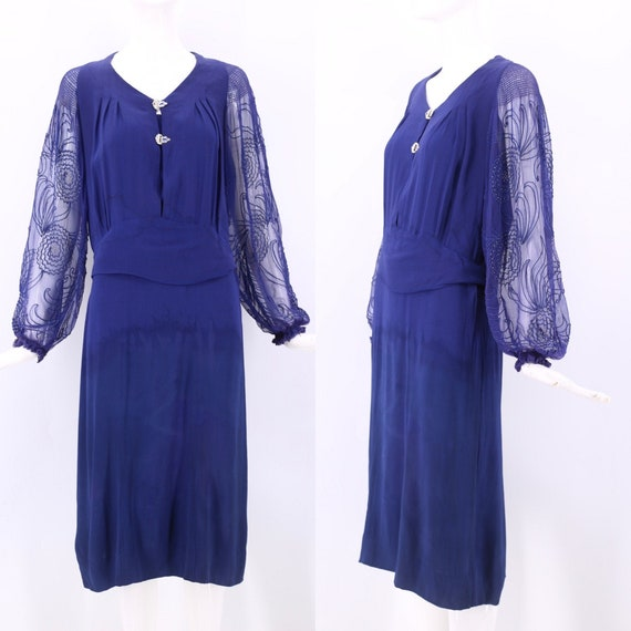 30s blue peasant sleeve day dress size M / vintage