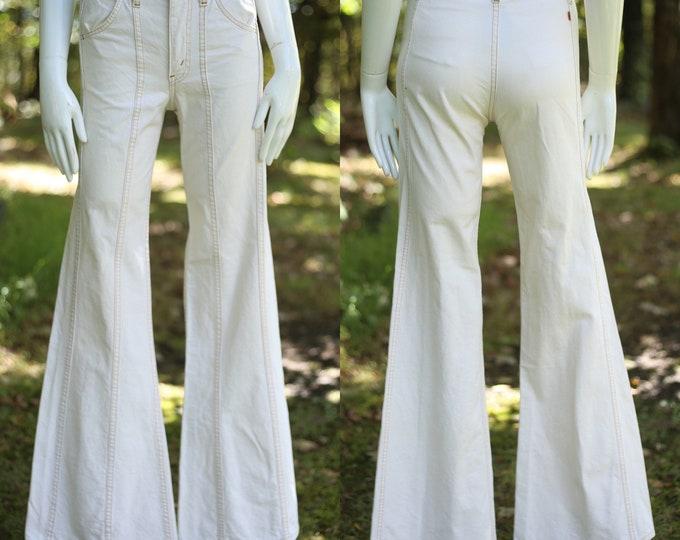 70s LEVIS Orange Tab high waisted off white denim bell bottoms jeans 28  / vintage 1970s denim flares pants S