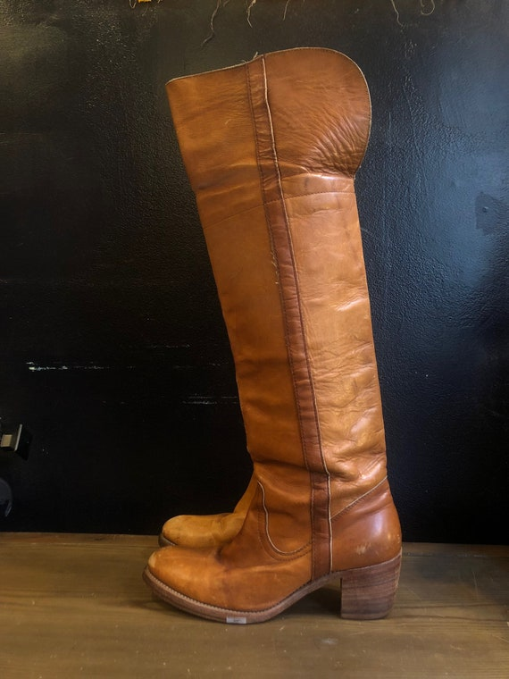 des années années années 70 en cuir tan FRYE au-dessus du genou CAMPUS bottes chaussures des années 1970 vintage 9,5 | Belle Couleur  b7f2bd