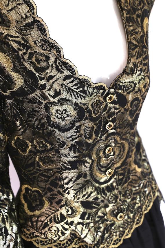 80s Pauline Trigere gold lace cocktail dress / vi… - image 5