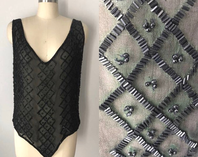 20s BEADED unusual silk chiffon overlay tank top with back PLUNGE vintage 1920s