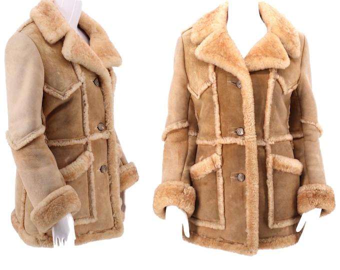 70s WILSONS beige suede & shearling coat S-M / vintage 1970s shearling fir trim COAT fur jacket 10