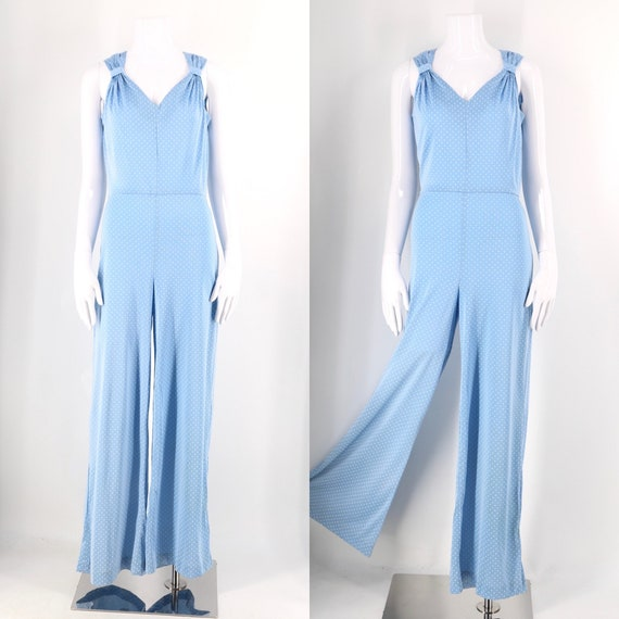 70s does 30s bell bottom slinky nylon jumpsuit / v