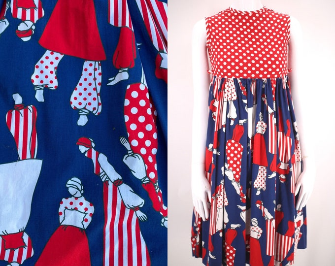 70s novelty LADY print dress XS  / vintage 1970s red white & blue figural motif BABY doll dolly dress petite 0